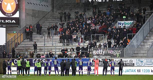 Fans and Players of FC Midtjylland celebrates their victory after the Danish Alka Superliga match between AC Horsens and FC Midtjylland at CASA Arena...