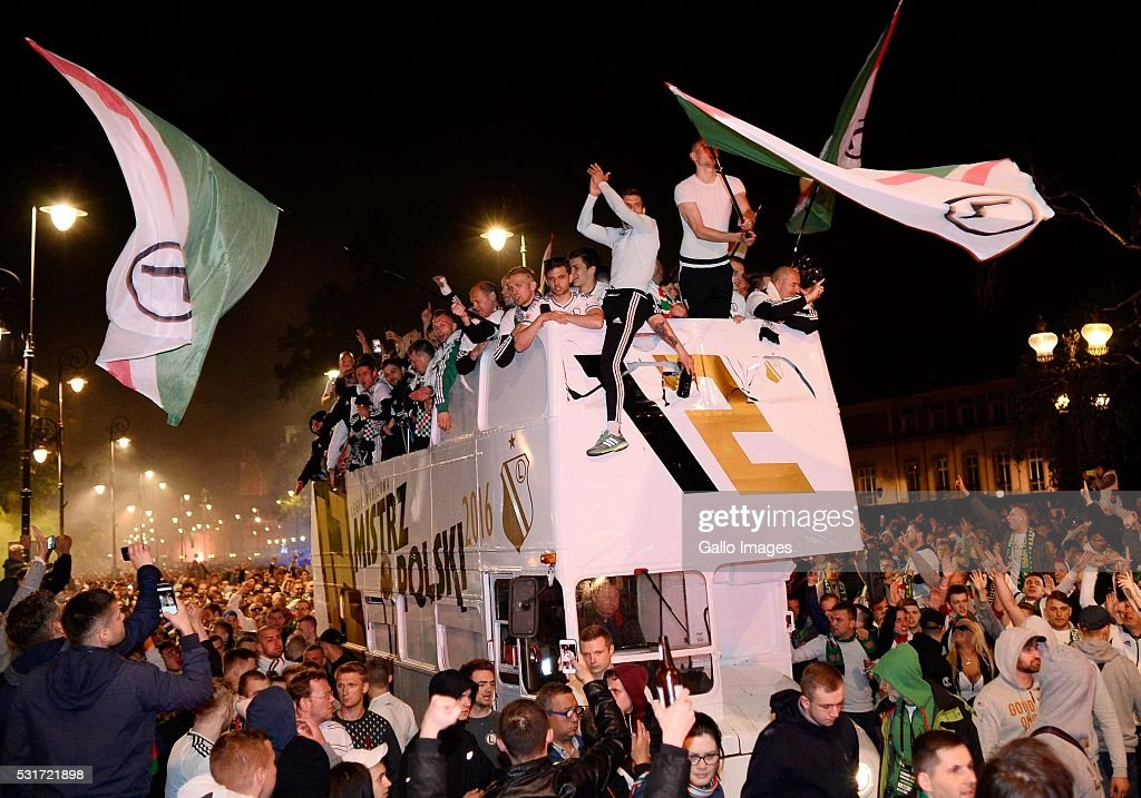Fans and supporters of the football club Legia Warszawa celebrate winning the Polish club championship on May 14 2016 in Warsaw Poland Legia Warszawa...