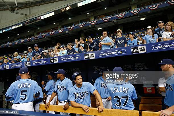 Fans and the Tampa Bay Rays wait for the start of the Rays' Opening Day game against the Toronto Blue Jays on April 3 2016 at Tropicana Field in St...