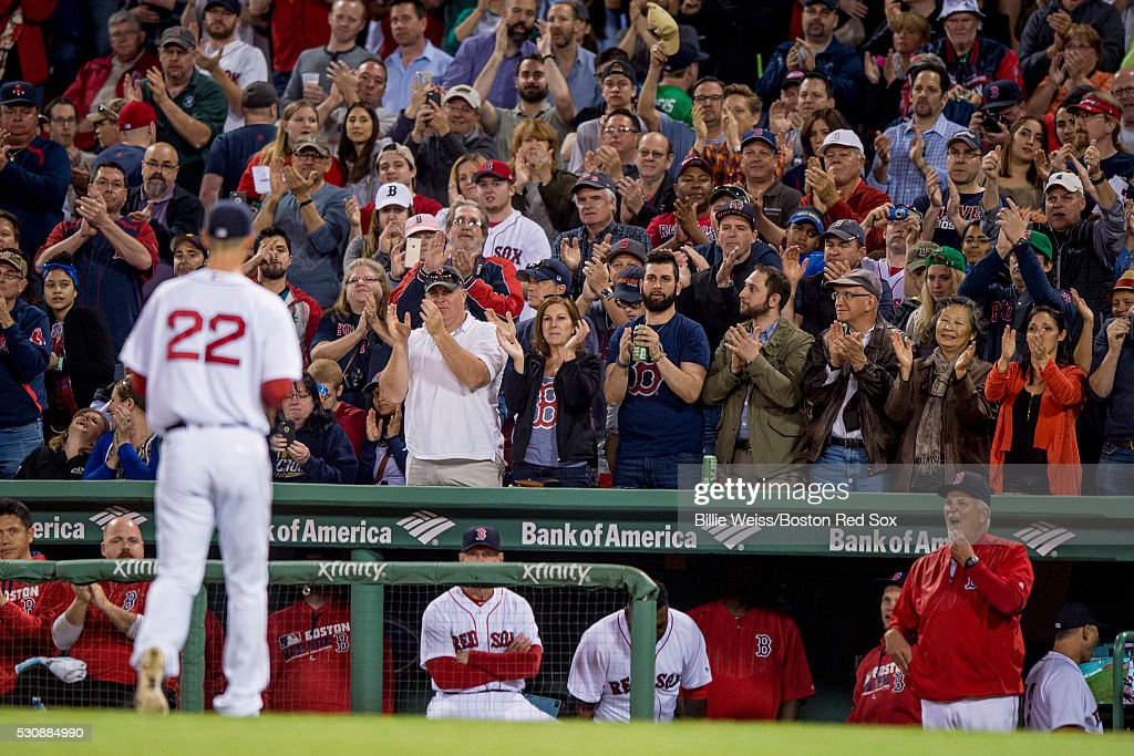 Fans applaud Rick Porcello #22 of the Boston Red Sox as he exits the game during the seventh inning against the Oakland Athletics on May 11, 2016 at Fenway Park in Boston, Massachusetts.