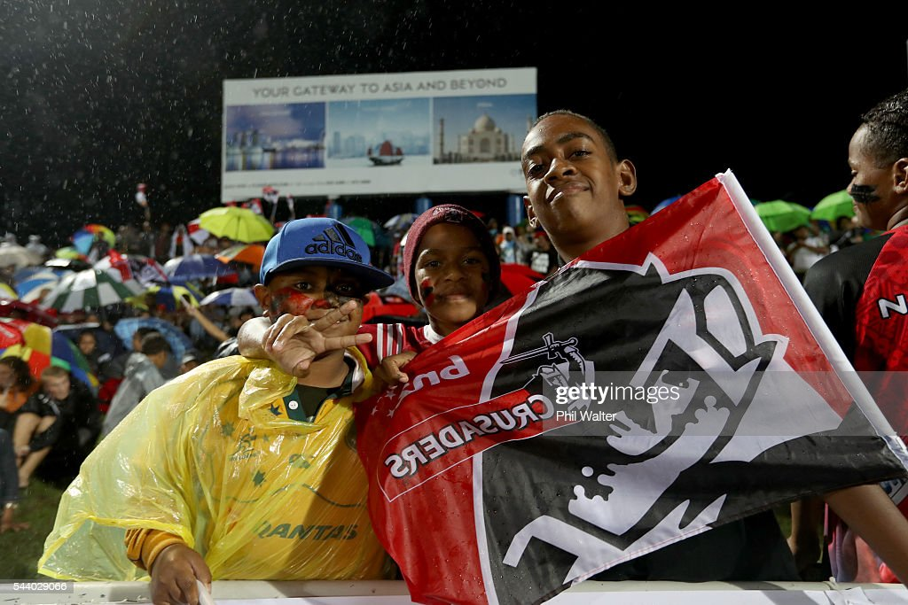 Fans are pictured before the round 15 Super Rugby match between the Chiefs and the Crusaders at ANZ Stadium on July 1, 2016 in Suva, Fiji.
