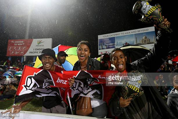 Fans are pictured before the round 15 Super Rugby match between the Chiefs and the Crusaders at ANZ Stadium on July 1 2016 in Suva Fiji