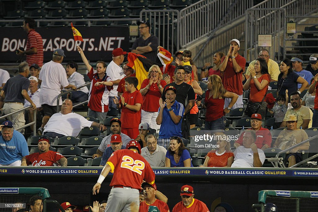 Fans are seen cheering in the stands in support of Team Spain during game 6 of the Qualifying Round of the World Baseball Classic at Roger Dean Stadium against Team Israel on September 23, 2012 in Jupiter, Florida.