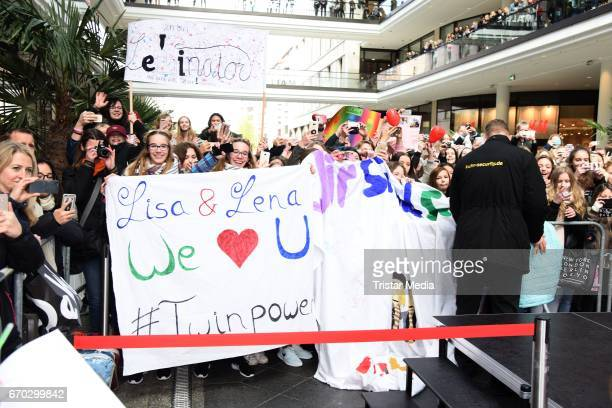 Fans are seen during a meet greet with the german twins Lisa and Lena M on April 19 2017 in Berlin Germany