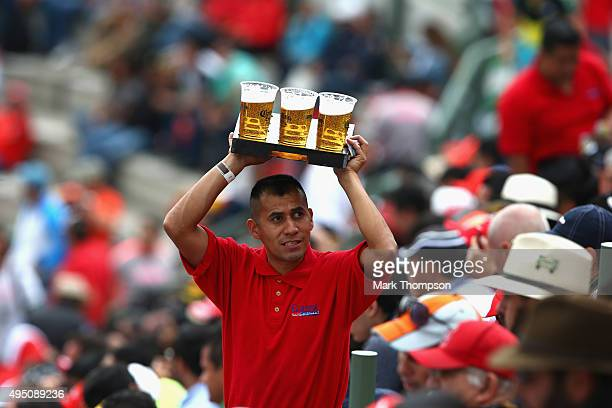 Fans are seen during practice for the Formula One Grand Prix of Mexico at Autodromo Hermanos Rodriguez on October 30 2015 in Mexico City Mexico