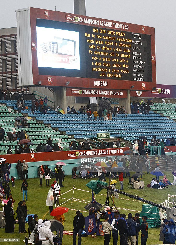 Fans are seen during the CLT20 match between Auckland Aces and Delhi Daredevils from Sahara Stadium Kingsmead on October 19, 2012 in Durban, South Africa.