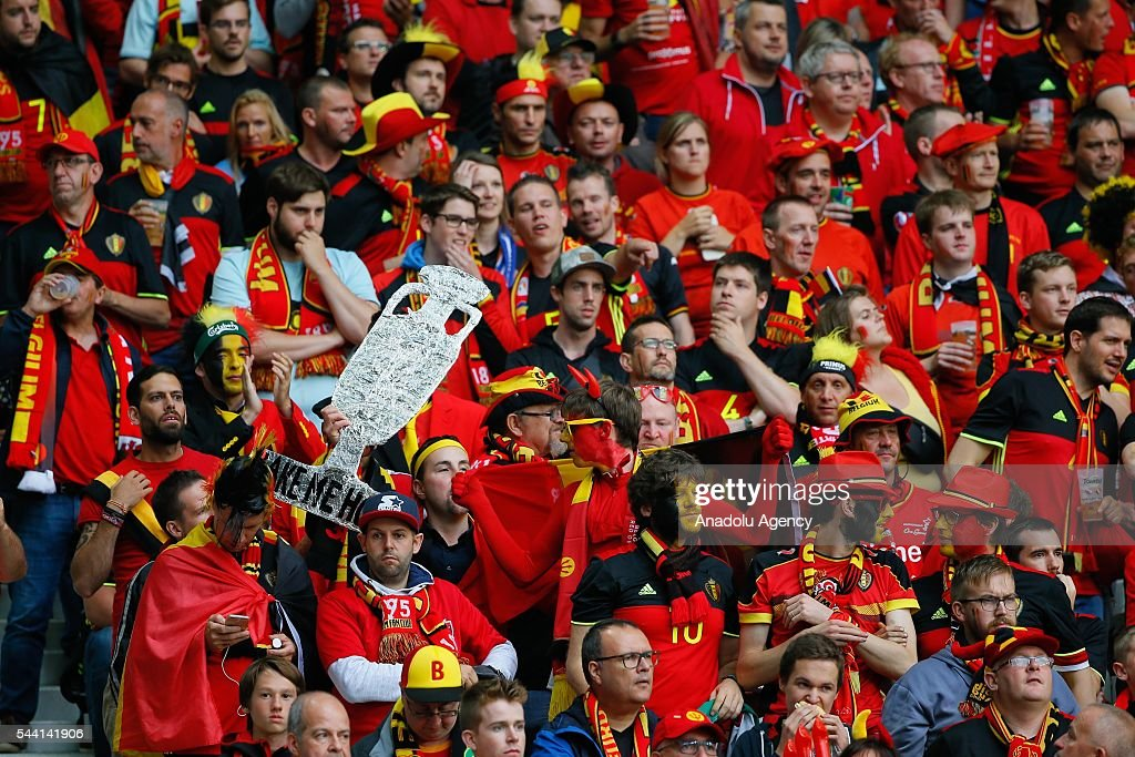 Fans are seen during the Euro 2016 quarter-final football match between Wales and Belgium at the Stadium Pierre Mauroy in Lille, France on July 1, 2016.