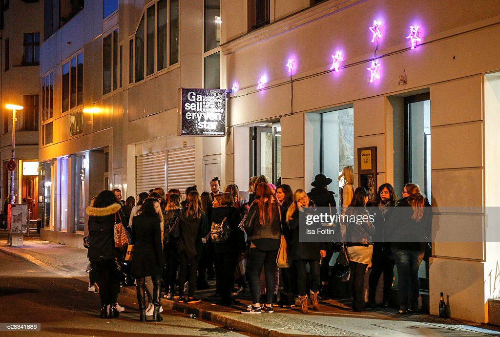 Outside view with fans in front of the gallery during the photo art exhibition and book launch of BILLY at Seven Star Gallery on May 4, 2016 in Berlin, Germany.