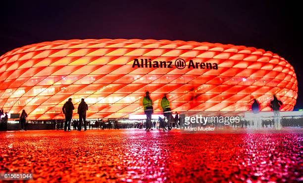 Fans are seen in front of the stadion before the UEFA Champions League group D match between Bayern Munich and PSV Eindhoven at Allianz Arena on...