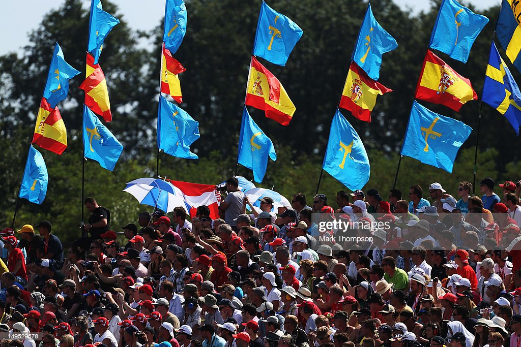 Fans are seen in the grandstand during the Hungarian Formula One Grand Prix at the Hungaroring on July 29, 2012 in Budapest, Hungary.