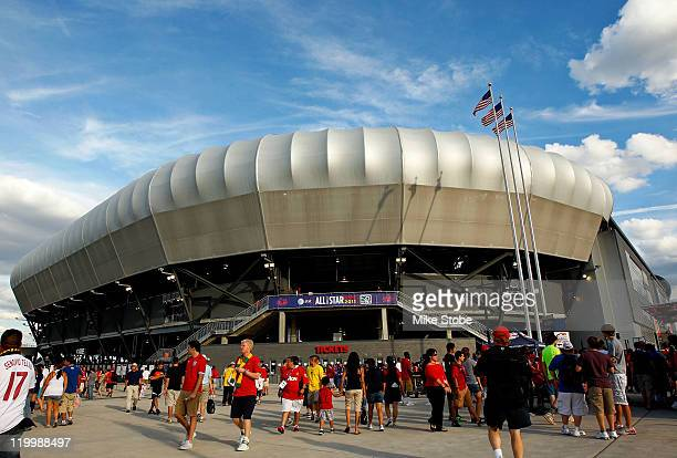 Fans are seen outside of the Red Bull Arena during the MLS AllStar Game at Red Bull Arena on July 27 2011 in Harrison New Jersey