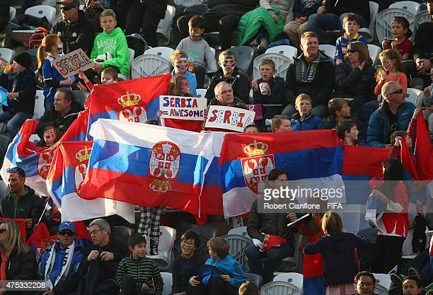 Fans are seen prior to the FIFA U20 World Cup New Zealand 2015 Group D match between Uruguay and Serbia at Otago Stadium on May 31 2015 in Dunedin...
