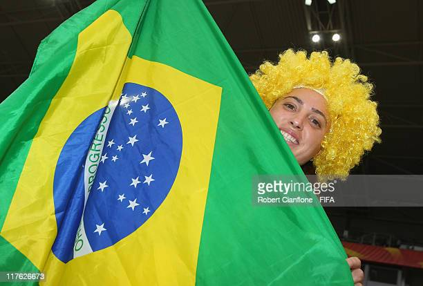 Fans are seen priro to the FIFA Women's World Cup 2011 Group D match between Brazil and Australia at the Borussia Park Stadium on June 29 2011 in...