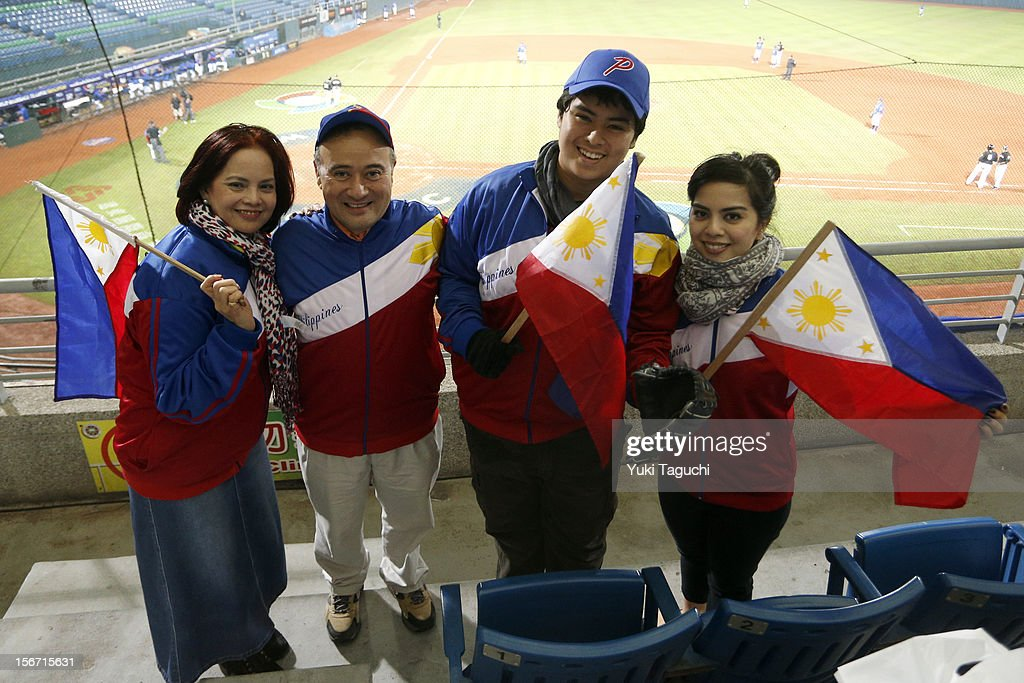 Fans are seen wearing colors of Team Philippines in the stands during Game 5 of the 2013 World Baseball Classic Qualifier betweenTeam New Zealand and Team Philippines at Xinzhuang Stadium in New Taipei City, Taiwan on Saturday, November 17, 2012.