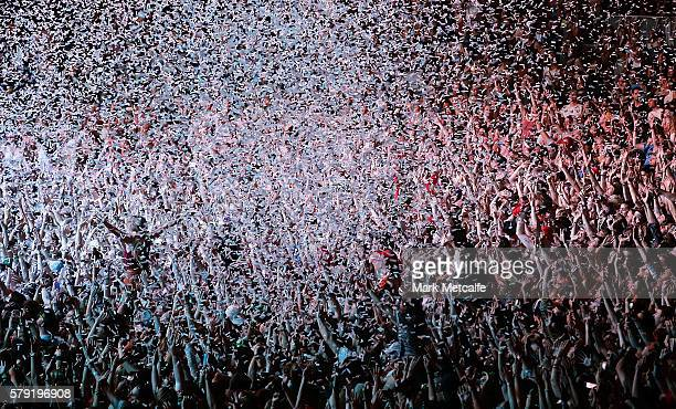 Fans are showered in confetti during the Gang Of Youths performance during Splendour in the Grass 2016 on July 23 2016 in Byron Bay Australia