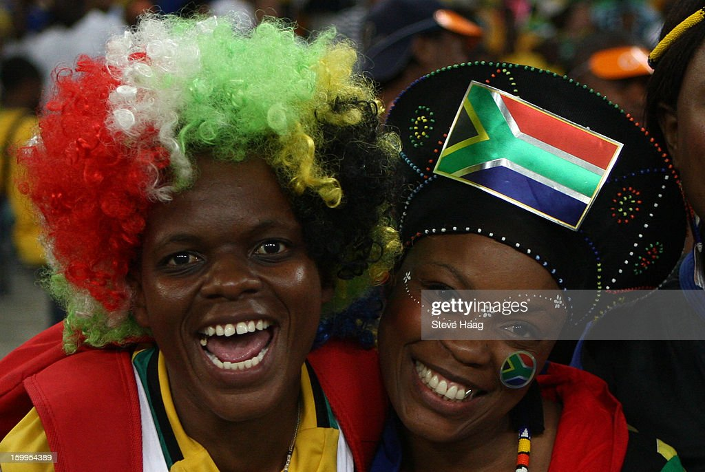 Fans are shown during the 2013 African Cup of Nations match between Morocco and Cape Verde at Moses Mahbida Stadium on January 23, 2013 in Durban, South Africa.