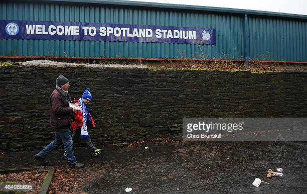 Fans arrive ahead of the FA Cup with Budweiser Fourth Round match between Rochdale and Sheffield Wednesday at Spotland on January 25 2014 in Rochdale...