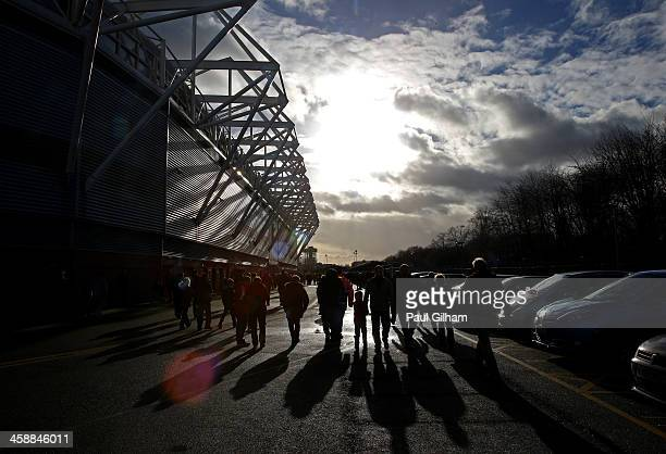 Fans arrive at he stadium prior to kickoff during the Barclays Premier League match between Southampton and Tottenham Hotspur at St Mary's Stadium on...