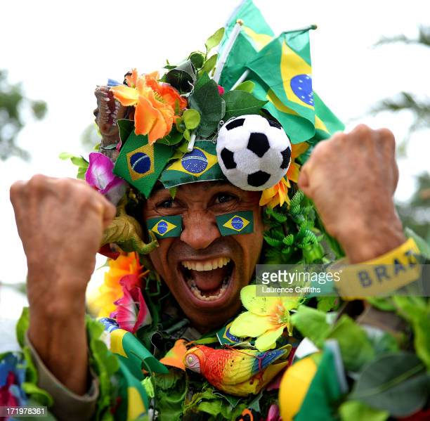 Fans arrive at the Maracana stadium prior to the FIFA Confederations Cup Brazil 2013 Final match between Brazil and Spain at Maracana on June 30 2013...