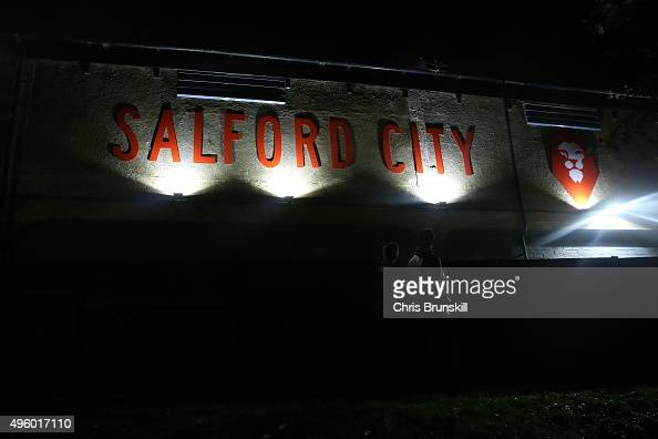 Fans arrive at the stadium ahead of the Emirates FA Cup First Round match between Salford City and Notts County at Moor Lane on November 06 2015 in...