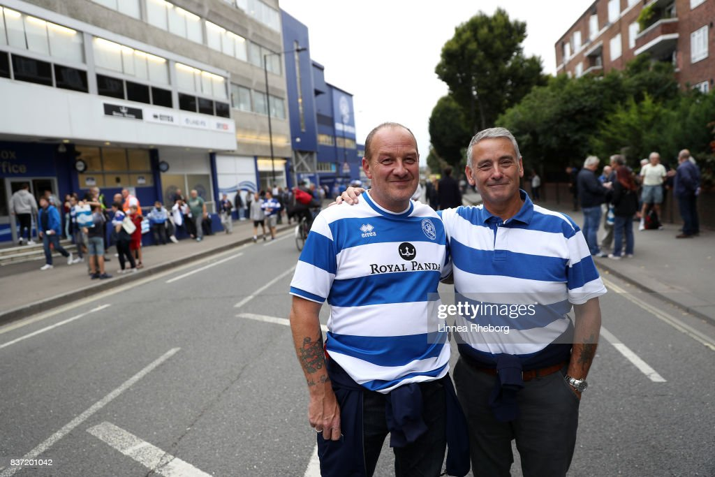 QPR fans arrive at the stadium before the Carabao Cup Second Round match between Queens Park Rangers and Brentford at Loftus Road on August 22, 2017 in London, England.