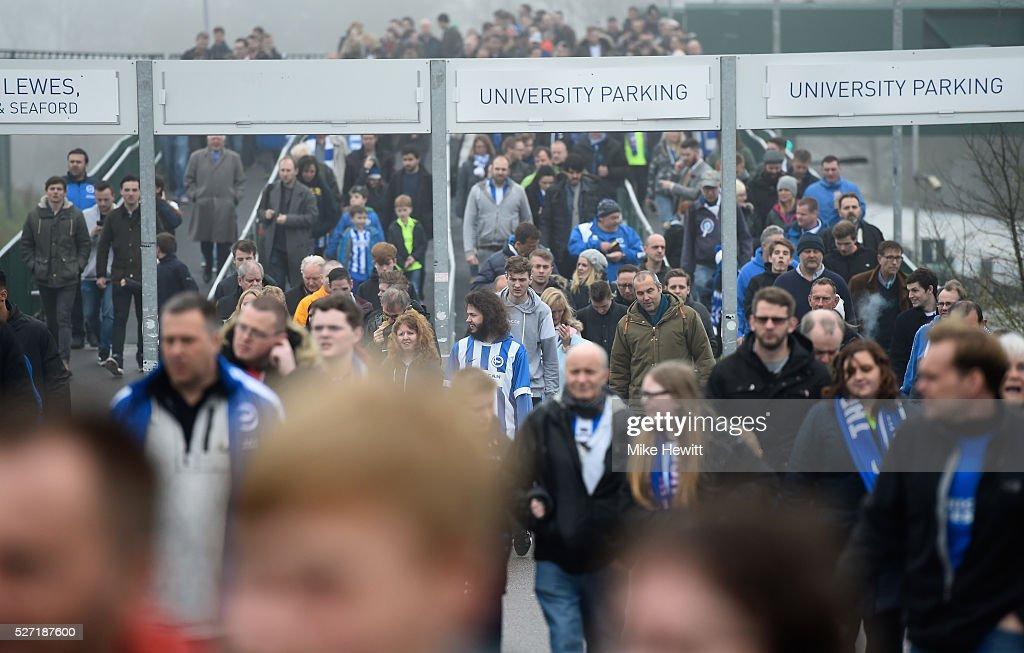 Fans arrive at the stadium prior to kickoff during the Sky Bet Championship match between Brighton and Hove Albion and Derby County at the Amex Stadium on May 2, 2016 in Brighton, United Kingdom.