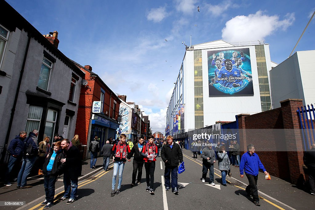 Fans arrive at the stadium prior to the Barclays Premier League match between Everton and A.F.C. Bournemouth at Goodison Park on April 30, 2016 in Liverpool, England.