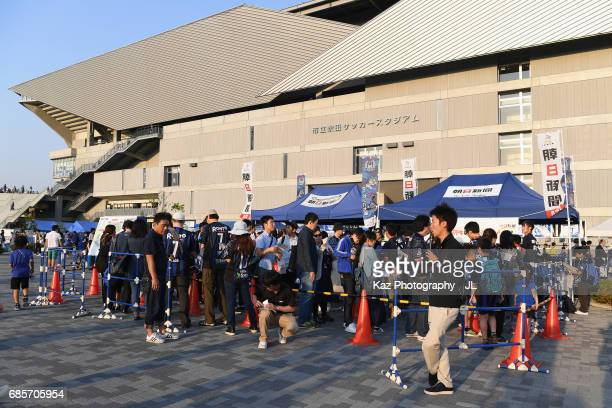 Fans arrive at the stadium prior to the JLeague J1 match between Gamba Osaka and Sagan Tosu at Suita City Football Stadium on May 20 2017 in Suita...