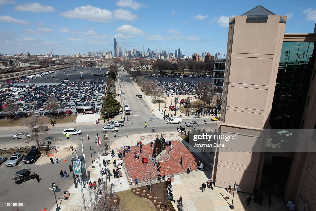 Fans arrive at U.S. Cellular Field for the Opening Day game between the Chicago White Sox and the Kansas City Royals at on April 1, 2013 in Chicago, Illinois.