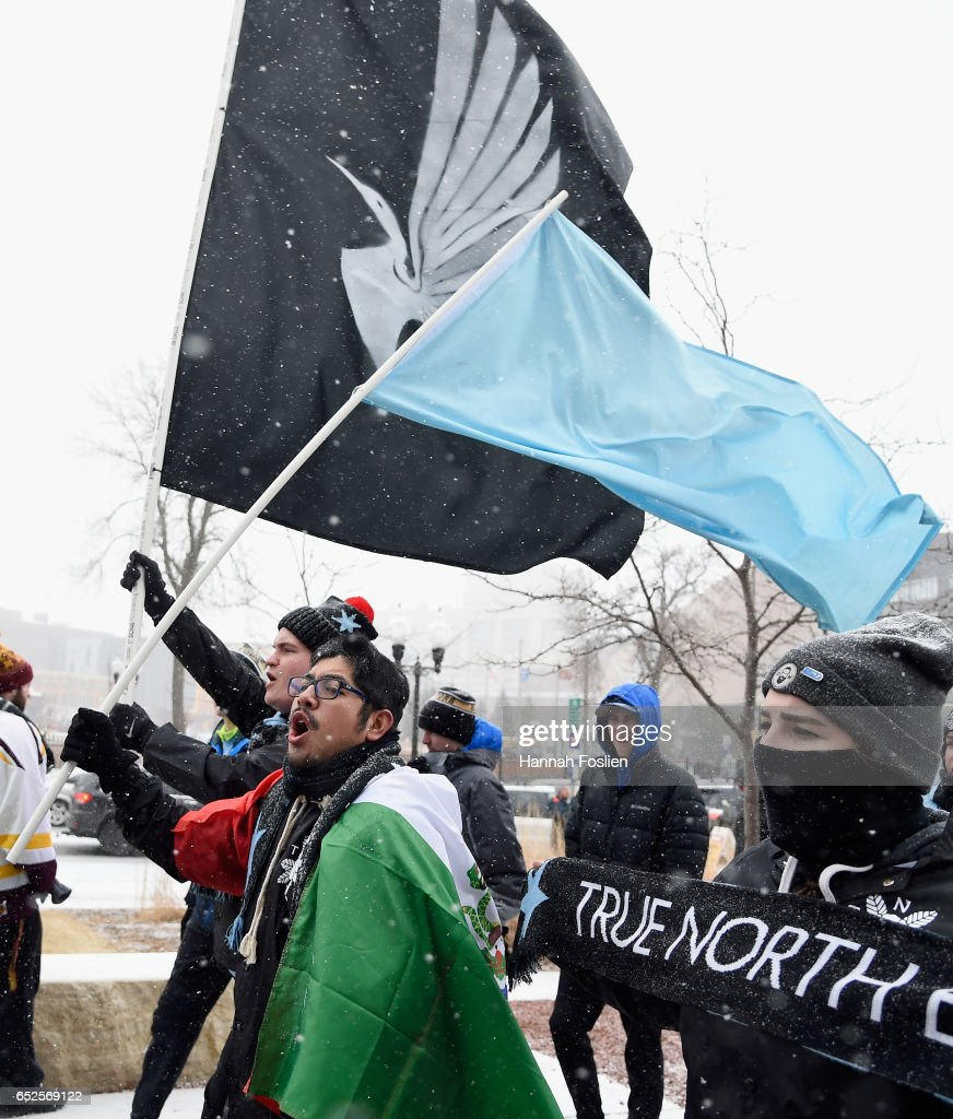Fans arrive before the match between the Minnesota United FC and the Atlanta United FC on March 12, 2017 at TCF Bank Stadium in Minneapolis, Minnesota.