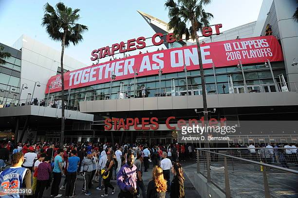 Fans arrive for Game One of the Western Conference Quarterfinals between the Portland Trail Blazers and Los Angeles Clippers during the 2016 NBA...