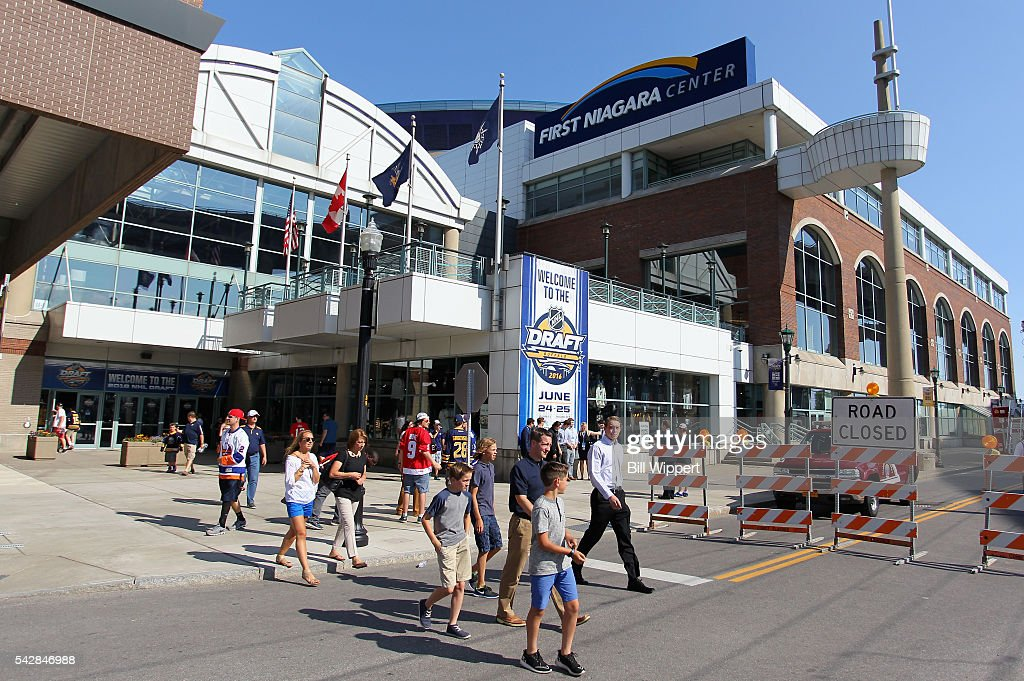 Fans arrive for round one of the 2016 NHL Draft at First Niagara Center on June 24, 2016 in Buffalo, New York.