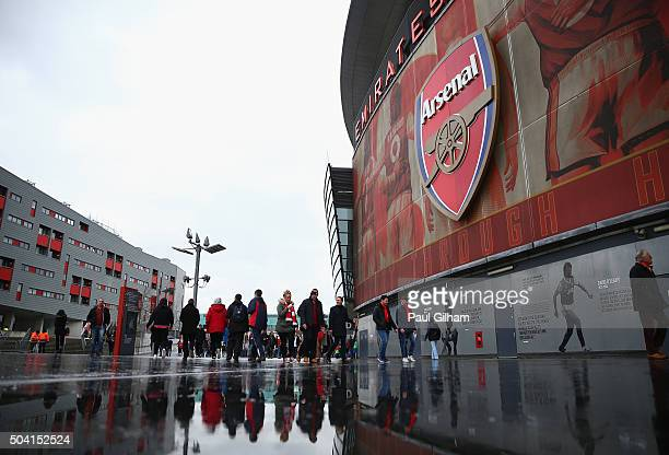 Fans arrive for the Emirates FA Cup Third Round match between Arsenal and Sunderland at Emirates Stadium on January 9 2016 in London England