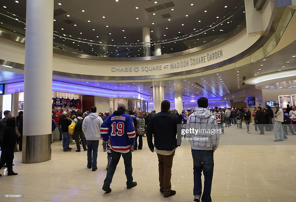 Fans arrive for the game between the New York Rangers and the Anaheim Ducks at Madison Square Garden on November 4, 2013 in New York City.