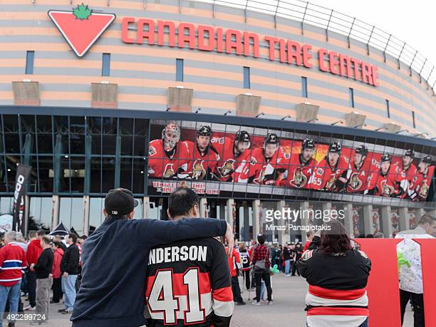 Fans arrive for the game between the Ottawa Senators and the Montreal Canadiens at Canadian Tire Centre on October 11 2015 in Ottawa Ontario Canada