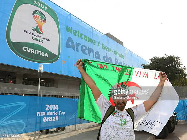 Fans arrive for the Group H match between Algeria and Russia during the 2014 FIFA World Cup Brazil at Arena da Baixada on June 26 2014 in Curitiba...