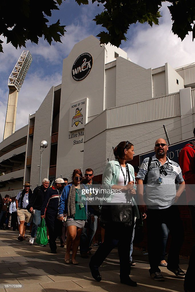 Fans arrive for the start of day one of the Third Test Match between Australia and South Africa at the WACA on November 30, 2012 in Perth, Australia.