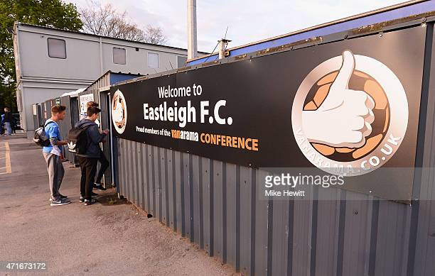 Fans arrive for the Vanarama Football Conference League play off 1st leg match between Eastleigh FC and Grimsby Town at Silverlake Stadium on April...
