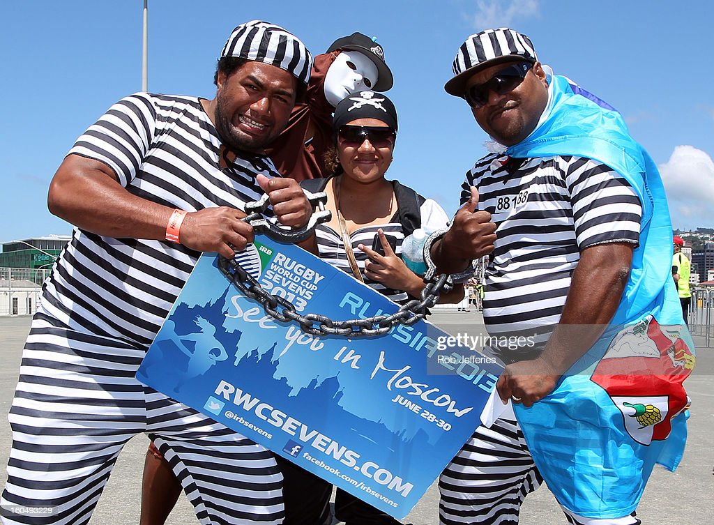 Fans arrive prior to the commencement of the Hertz Sevens, Round four of the HSBC Sevens World Series Westpac Stadium on February 2, 2013 in Wellington, New Zealand.