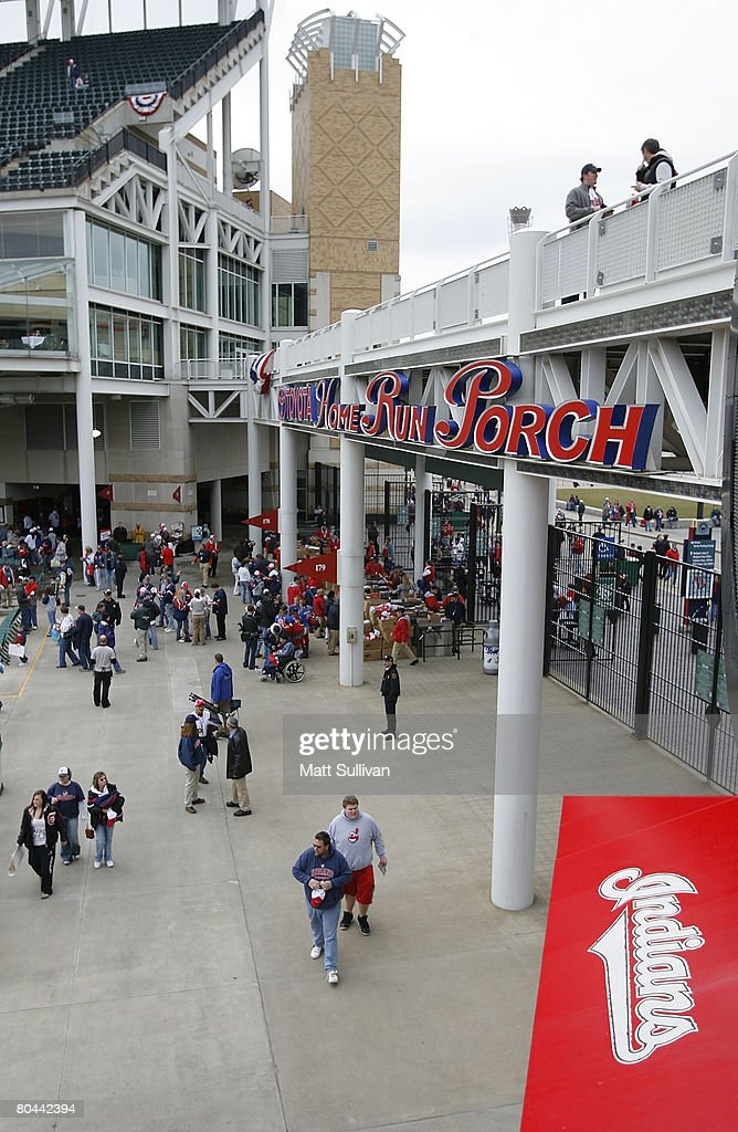 Fans arrive prior to the start of the Cleveland Indians Opening Day game against the Chicago White Sox on March 31 2008 at Progressive Field in...