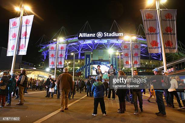 Fans arrive prior to the Super Rugby Semi Final match between the Waratahs and the Highlanders at Allianz Stadium on June 27 2015 in Sydney Australia