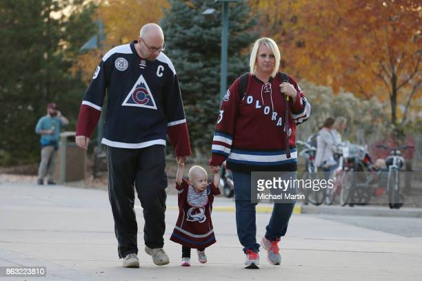 Fans arrive to the Pepsi Center prior to the game between the Colorado Avalanche and the St Louis Blues on October 19 2017 in Denver Colorado