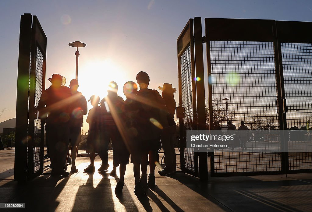 Fans arrive to the spring training game between Team USA and the Colorado Rockies at Salt River Fields at Talking Stick on March 6 2013 in Scottsdale...