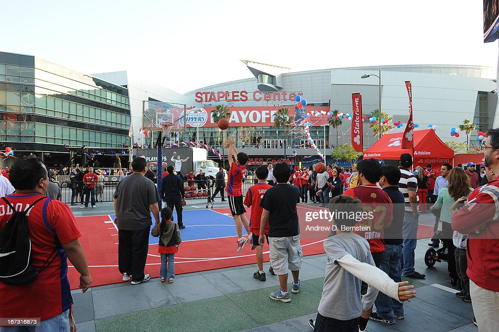 Fans arriving at the Staples Center in Game Two of the Western Conference Quarterfinals between the Memphis Grizzlies and the Los Angeles Clippers during the 2013 NBA Playoffs on April 22, 2013 in Los Angeles, California.