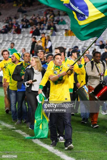 Fans at Brazil Vs Australia in the Chevrolet Brasil Global Tour 2017 on June 13 2017 in Melbourne Australia Chris Putnam / Barcroft Images LondonT44...