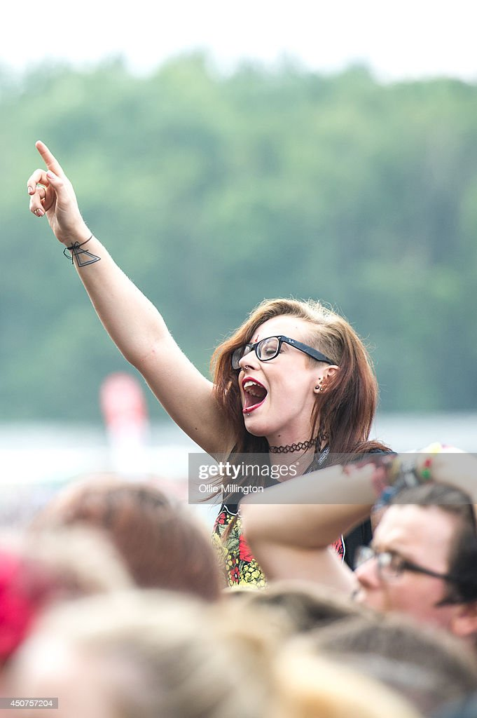 Fans at Download Festival at Donnington Park on June 14, 2014 in Donnington, United Kingdom.