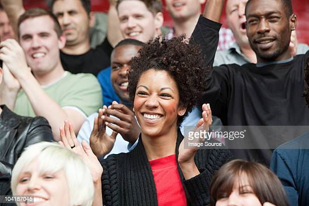 Fans at football match