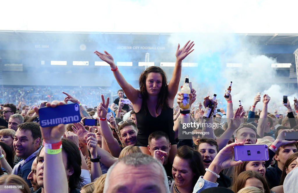 Fans at King Power Stadium during the Kasabian gig at King Power Stadium on May 28th , 2016 in Leicester, United Kingdom.