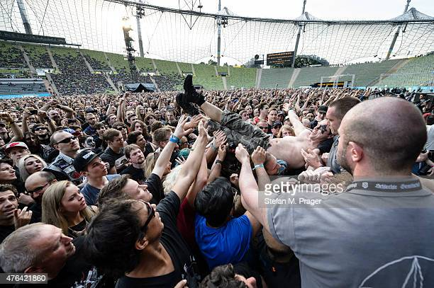Fans at Olympiastadion at Olympiapark on May 30 2015 in Munich Germany