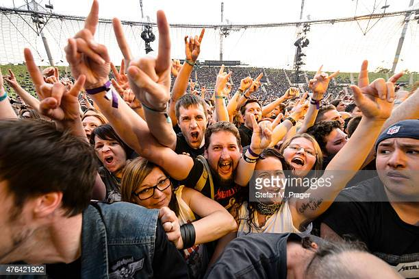 Fans at Olympiastadion at Olympiapark on May 31 2015 in Munich Germany